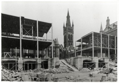Construction of the University Memorial Chapel, completed in 1929 and financed by public subscription