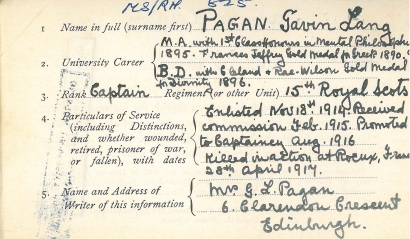 An information card filled out by Capt Gavin Lang Pagan's widow for his inclusion on the university's Roll of Honour. Hundreds of cards like this, as well as letters and press clippings, are held in the university archives.