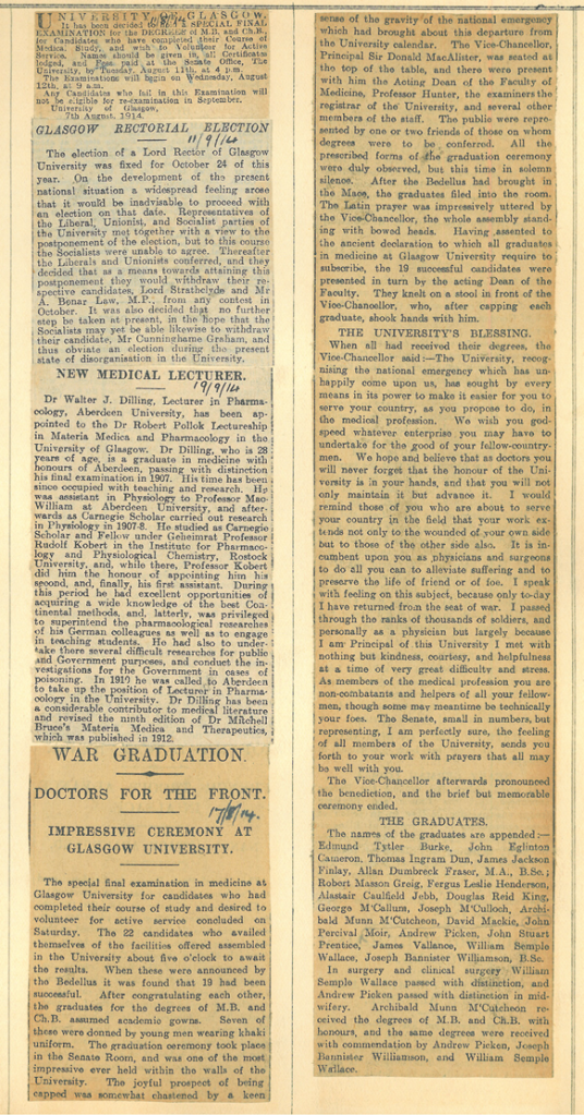 News clipping reporting special graduation for medical students, 17 August 1914. GUAS Ref: IP6/1/19