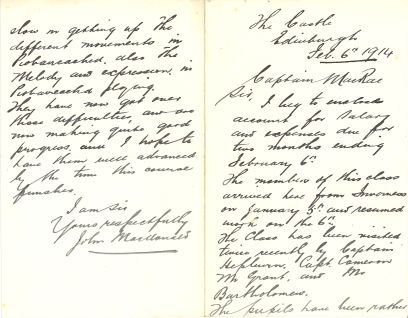 """The tutor of the class in Inverness, John MacDonald, informs the Society that the class had been """"rather slow in picking up the different movements of Pìobaireachd"""" but are """"now making quite good progress."""" (DC80/372/4)"""