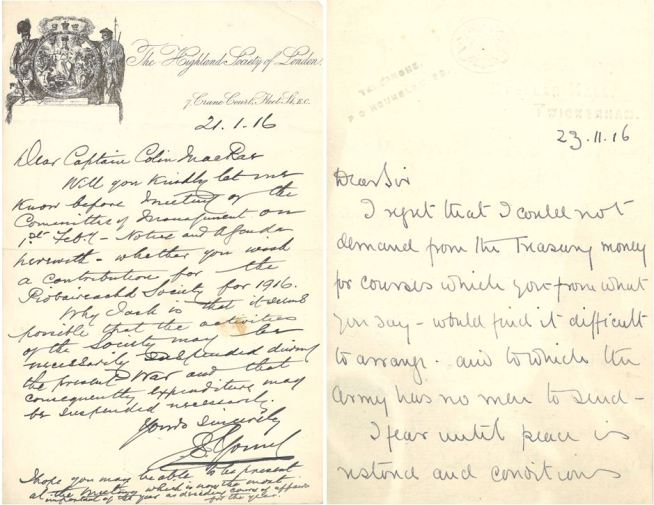 "Left: ""It seems possible that the activities of the Society (Highland Society of London) may be necessarily suspended during the present War and that consequently expenditure may be suspended necessarily."" (DC80/371/11)    Right: The Colonel Commander of the Royal Military School of Music regrets to inform the Society that he was unable to get money from the Treasury to fund piping courses.  ""I fear until peace is restored and conditions once men become normal it is no use hoping to have men to send to be instructed in piping"" (DC80/371/23)"