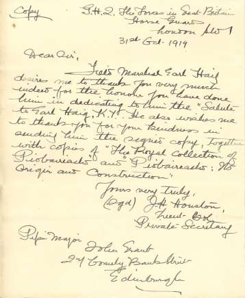 The above letter is a copy of one written on behalf of Haig, thanking the Society for the dedication. (DC80/376/44)