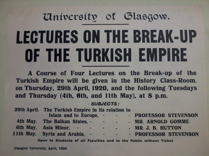 Lecture notice from University of Glasgow Archives