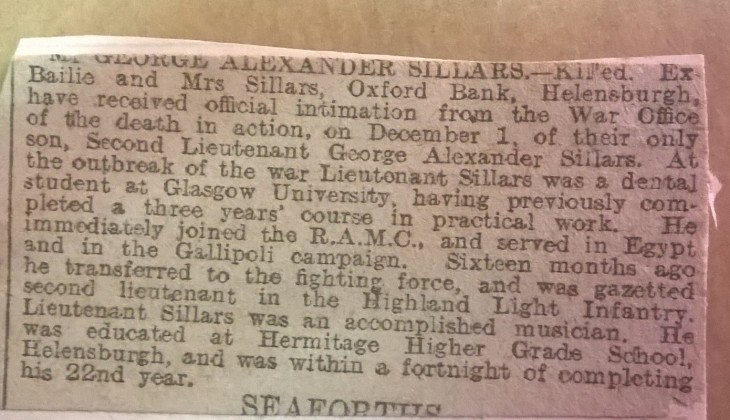 News clipping reporting death of Sillars. University of Glasgow Archives Ref: CH4/4/2/3/1218