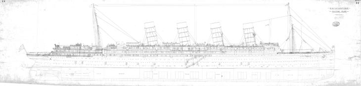 Rigging Plan of Lusitania. University of Glasgow Archive Services Ref: UCS1/110/367/3.