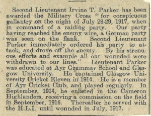 Newspaper clipping reporing Irvine T Parker's award for bravery (CH4/4/2/3/1192)