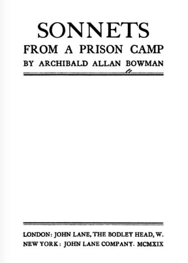 Sonnets of a prisoner of war
