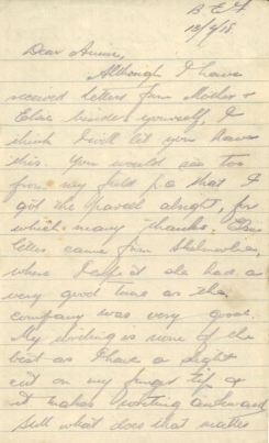 Page One of Daniel's Letter of July 13th 1918 DC179/1/2/14/9