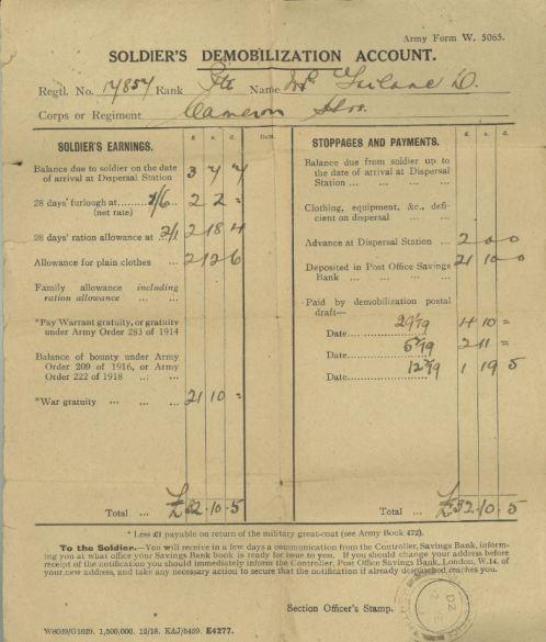 DC 179/1/1/1 Demobilisation Account from Daniel's Demobilisation Papers